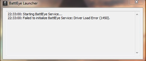 Failed to initialize BattlEye Service Driver Load Error (1450): как исправить ошибку