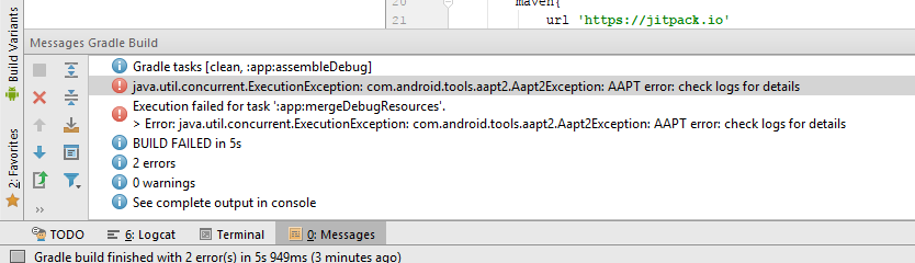 «Error:com.android.tools.aapt2.Aapt2Exception: AAPT2 error: check logs for details»: причины появления и методы решения
